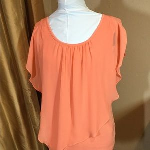 Peach top with flowy sheer layer